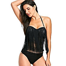 Lace Fringed One Piece Swimsuit-BLACK