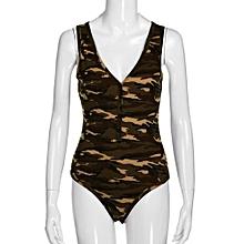 bluerdream-Summer Women Camouflage Army Romper Jumpsuit Sleeveless Sexy V Neck Leotard L-?? Camouflage L