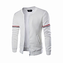 Men's Hot Sale Mens Hoody Jacket Coat Two Color Blocked Lightweight Fleece Jacket-white