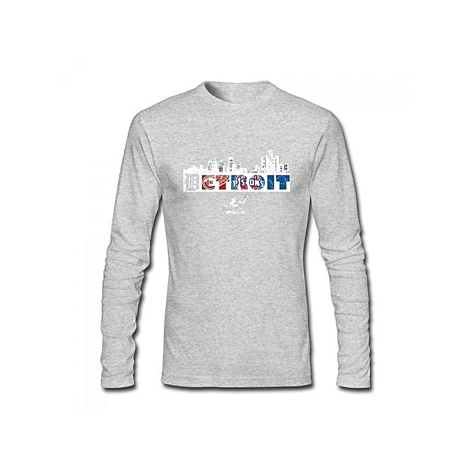 new arrivals 9b9eb 00c96 Detroit Red Wings Lions Tigers Pistons Men's Cotton Long Sleeve T-shirt Grey