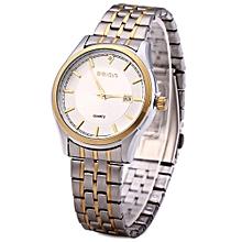 W00119 Men Calendar Steel Rhinestone Luminous Analog Quartz Watch-SILVER