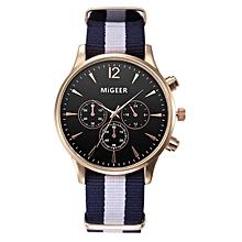 bluerdream-Luxury Fashion Canvas Mens Analog Watch Wrist Watches- Black