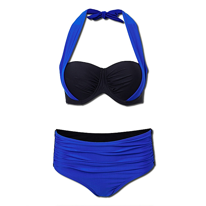 660a5629dcb ... Women Sexy Color Block Strappy Halter Bikini Push Up Folder High  Waisted Swimsuit