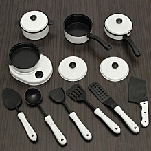 11pcs Kids Pretend Role Play Toy Kitchen Utensils Pots Pan Cooking Food Cookware