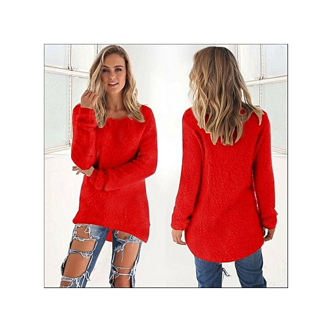0a01535798c New Arrival  Women Casual Tops Mohair Blend Fuzzy Blouse Pullover Jumper  Loose Sweater Knitwear-