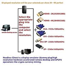 Henoesty HDMI DDC EDID Teat Plug, Headless Phantom, Display Emulator(Fit Headless-1920x10