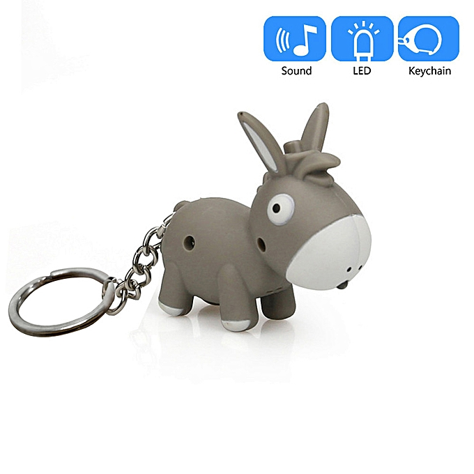 Cute Donkey Keychain With LED Light And Sound Keyfob Kids Toy Gift