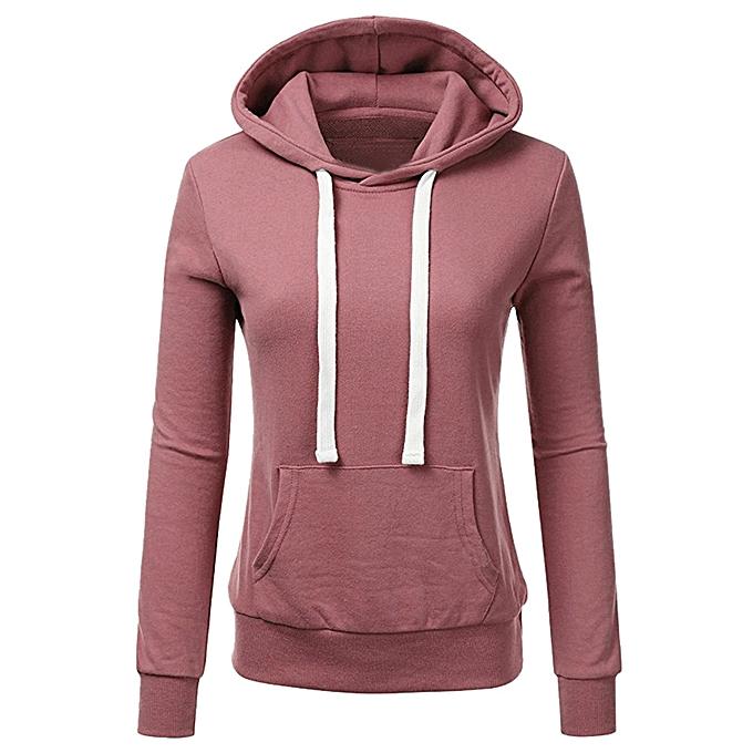 Generic Women Solid Basic Lightweight Pullover Hoodie Sweatshirt Blouses  Tops A1 8b54eb5281