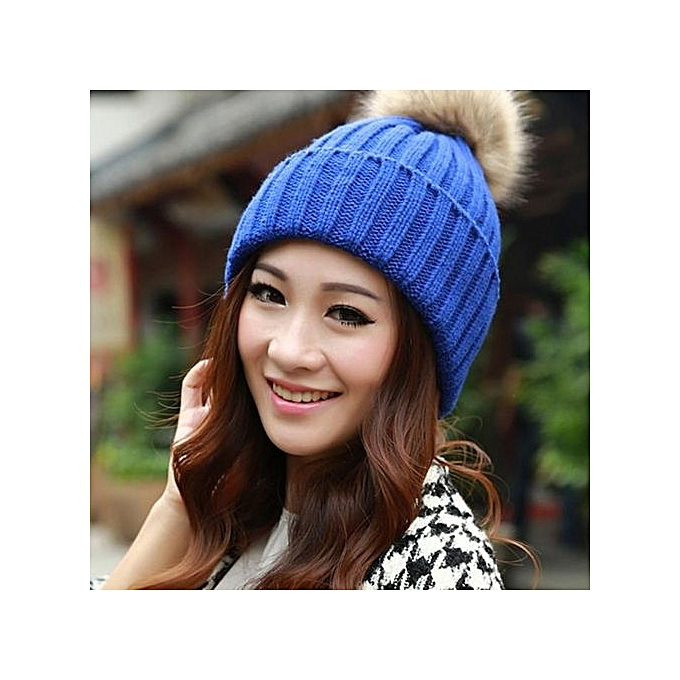 c9c5e137f5351 Eissely Women Winter Fur Ball Warm Hat Crochet Knitted Wool Cap BU ...