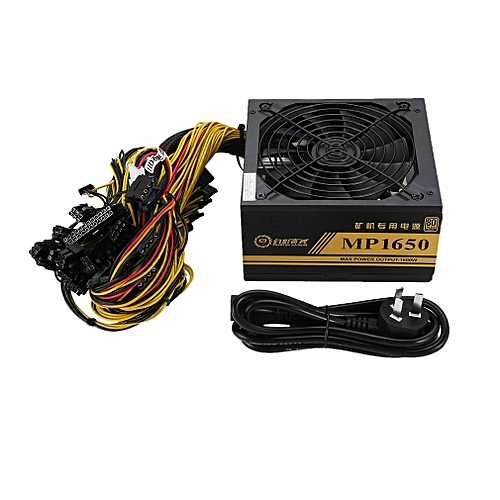 OR 1600W Modular Power Supply For 6 GPU Eth Rig Miner Machine with Cooling  Fan-black