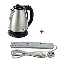 Cordless Electric Kettle - 2L - Silver Plus Free 6 way Extension Cable