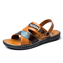 dd8cad5edefdb5 Refined Mens Sandals Summer Outdoor Beach Slide Sandals Leather Shoes  Fashion Breathable Casual Male Footwear For