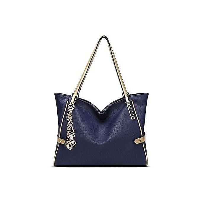 bluerdream-Women Leather Handbag Shoulder Crossbody Bag Tote Messenger  Satchel Purse Blue-Blue 851fc81294779