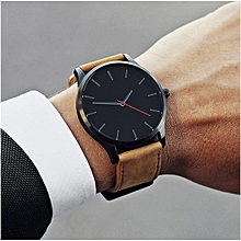 Fashion Men Quartz Wristwatch Genuine Leather Watchband -Coffee Black