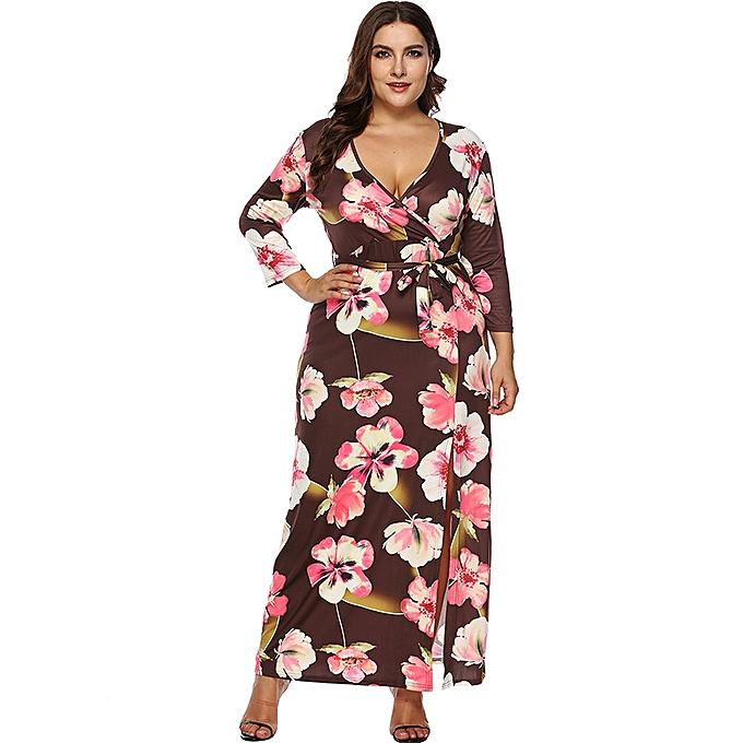 3824de3dd9d Women Plus Size Long Dress Floral Print 3 4 Sleeves Slit High Waist Maxi  Dress