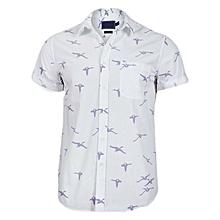 100% Premium Cotton White Short Sleeved Shirt with Blue Print