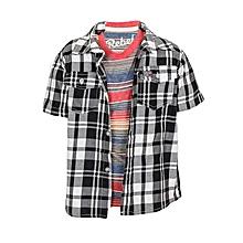 Black And White Shirt & Red Striped T-Shirt Set