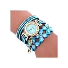 Henoesty Fashion Chimes Diamond Leather Bracelet Lady Womans Wrist Watch Lightblue