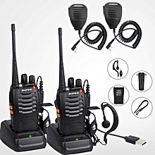 2PCS BaoFeng BF-888S Walkie Talkie Two-way Portable Ham Radio 16 Channels + Speaker Mic