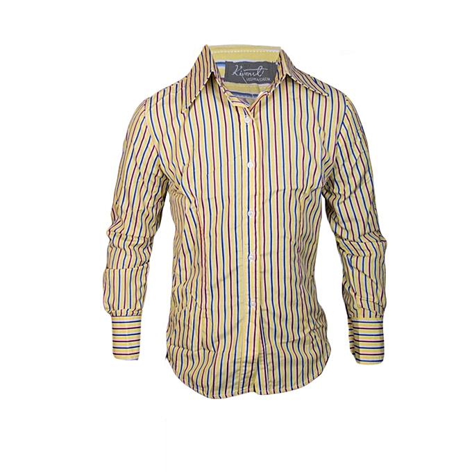 351c3e734c26 Kivenst Fashion Long Sleeve striped shirt-yellow