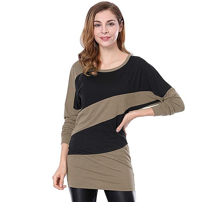 9c63e136a7e Fashion New Women Autumn Long T-shirt Contrast Color Tops Splicing O Neck  Long Sleeve Plus Size Tops Pullover