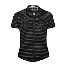 Black Short Sleeved Shirt With Stripes