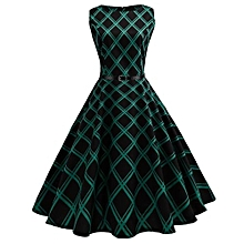Female Hepburn Series Belt Dress - Checked