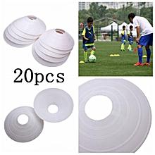 20PCS Soccer Disc Cone Saucer Football Cross Training Sports Space Marker Landmark White-