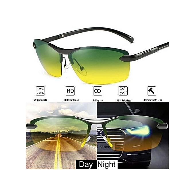 496dab69bef Day Night Vision Men s Polarized Sunglasses Driving Pilot Mirror Sun Glasses  - yellow