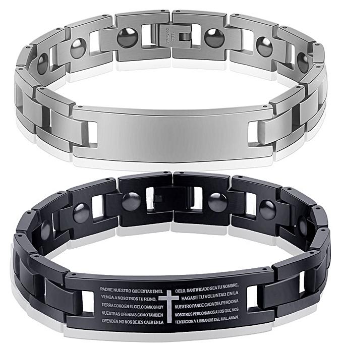 Black cross bracelet through text hand decorate the titanium steel men and  women's style inset the loadstone Zhe stone bracelet