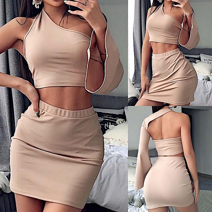 96800769f364 Fashion Women Sexy Two Piece Crop Top+Skirt Long Sleeve Mini Skirt ...