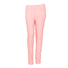 Girls Light Orange Fitting Cotton Stretch Pants