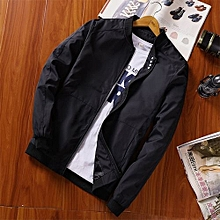 New Men's Baseball Collar Pure Four Button Coat Youth Pilot Jacket Slim Large Size Casual Fashion Jacket-black