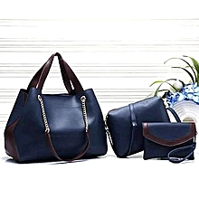 4-in-1 Faux Leather Handbag-Navy Blue