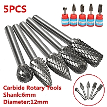 5 Head Tungsten Carbide 12mm Rotary Point Burr Die Grinder 6mm Shank Bit Kit Set