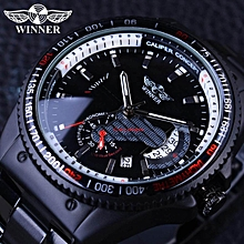 Winner GMT991 Racing Design Black Stainless Steel Calendar Display Mens Watches Top Brand Luxury Mechanical Automatic Watch Clock BDZ