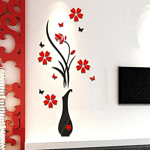 Generic Diy Vase Flower Tree Crystal Arcylic 3d Wall Stickers Decal
