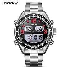 SINOBI 9731 Men's Analog Digital Steel Quartz Watch Waterproof 24 Hour Date Wrist Watch Fashion Sports Clock Relogios BDZ