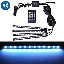 4 in 1 Universal Car Colorful Acoustic LED Atmosphere Lights Colorful Lighting Decorative Lamp, with 48LEDs SMD-5050 Lamps and Remote Control, DC 12V 7W
