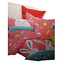Cartoon character kids duvet with 2 Pillow cases and one Bedsheet-4*6-Pink and White