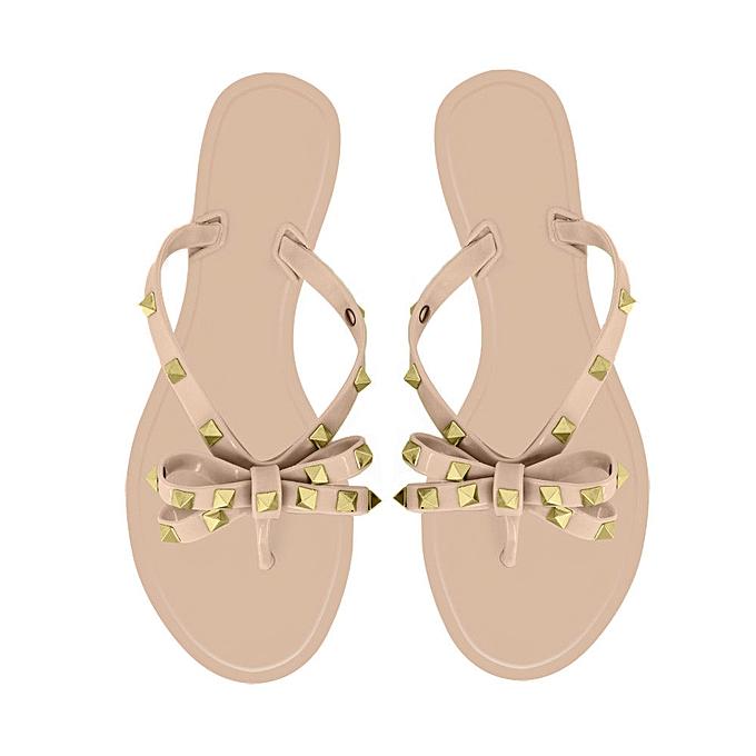 ef3a1f520ea12 Fashion WOMEN S TOE BOW RIVET JELLY SUMMER FLAT FLIP FLOP BOLT BOWKNOT THONG  SANDALS