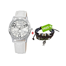 White Ladies Leather Watch With White Dial +FREE Bracelet