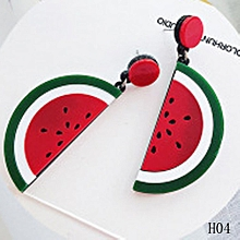 Punk Long Summer Style Watermelon Drop Earrings Jewelry Candy Big Acrylic Fruit Shape Pendants