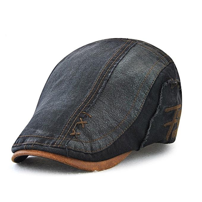119eee2da7 Vintage Cotton Patchwork Newsboy Cap Duckbill Visor Casual Cabbie Beret  Caps Strapback Flat Ivy Hats(black)