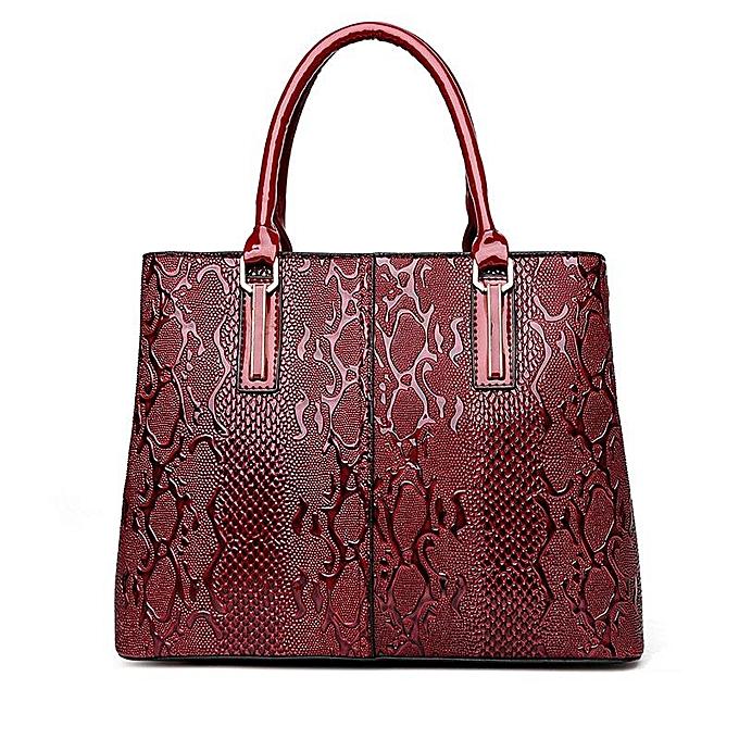 Women Pu Patent Leather Elegant Handbag Shoulder Bag Crossbody Wine Red