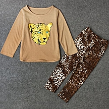 The Explosion Retail 2015 New Girls Clothing Sets Baby Kids Clothes Children Clothing Full Sleeve T Shirt Leopard Legging , 2pc Set , 3 Color
