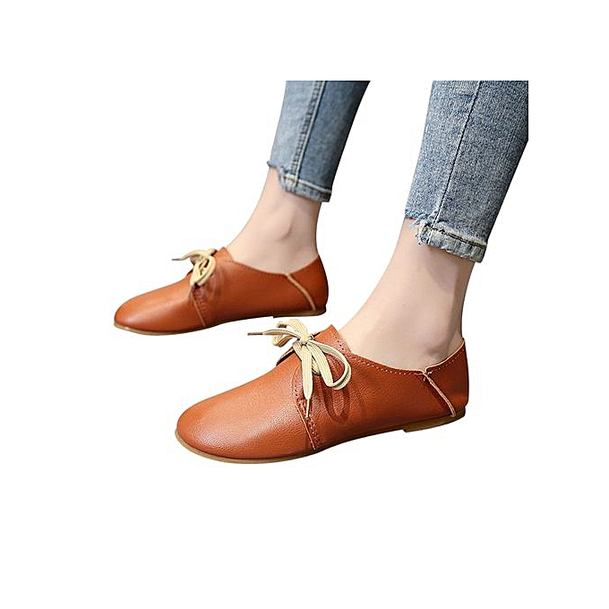 5ee5f658988e0 Xingbiaocao Women's Vintage Spring Bow Tie Soft Bottom Wild Lace-up Shallow  Casual Shoes -Brown