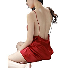Female Backless V-neck Pajamas Thin Shoulder Straps Mini Nightdress For Summer Color:Jujube Red Size:M
