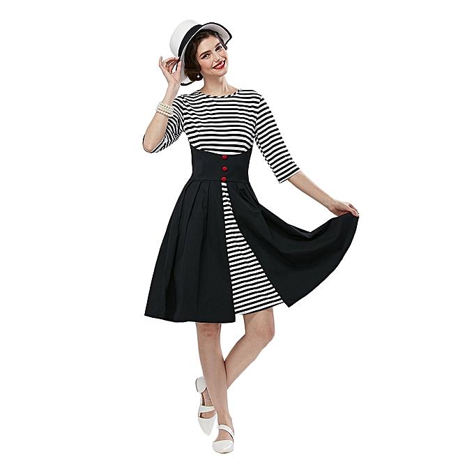 bb08ea249e Stylish Round Collar Striped Sash Wasit A-Line Women Ball Gown Dress - BLACK