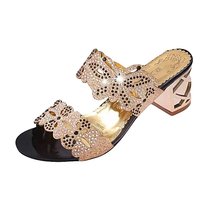 1768148c1799 Xiuxingzi Women Rhinestone Slippers Women Fashion Open Toe Shoes Bohemia  high Heel Shoe ...